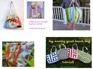 Collage beach bags